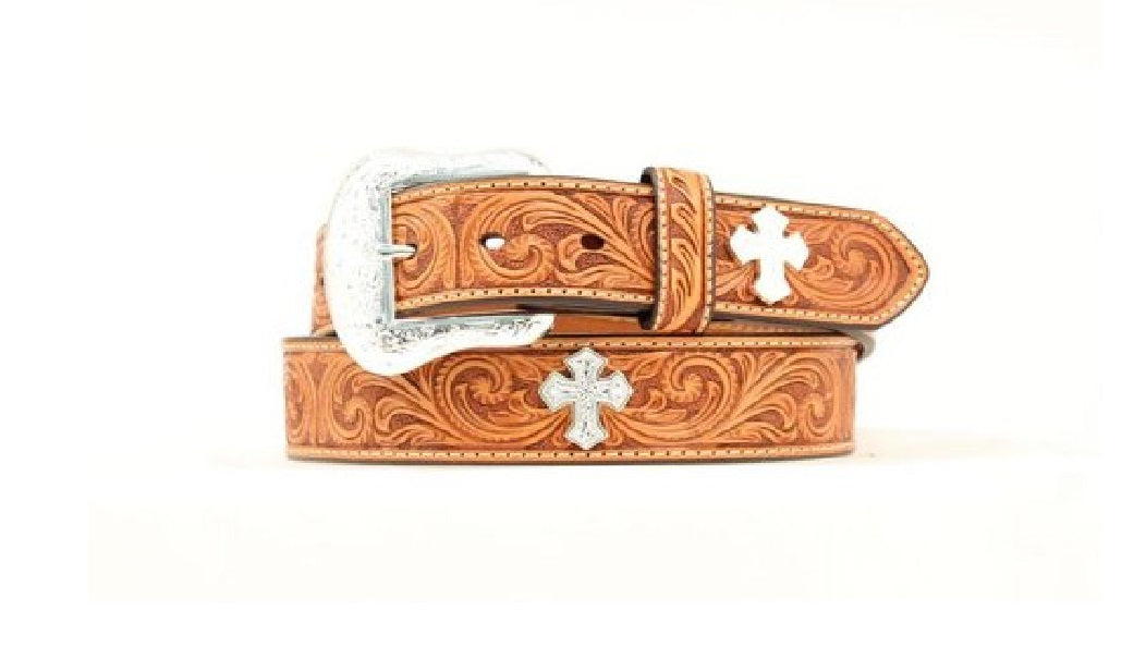 Swirl Tooled Belt With Silver Crosses