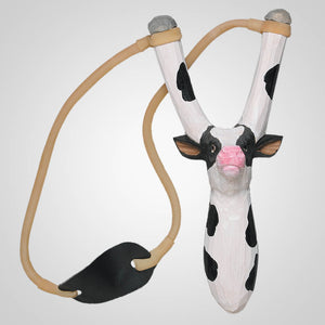 Carved Wood Cow Slingshot