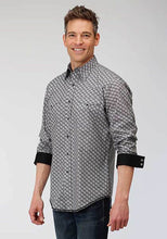 Load image into Gallery viewer, Men's Grey & White Pearl Snap Paisley Western Shirt