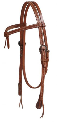 Futurity Knot Headstall W/ Barbed Wire Tooling