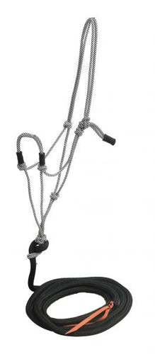 cowboy knot halter with 14ft training lead w/ popper