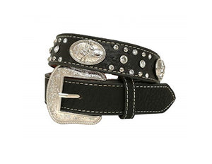 Boys Black Faux Ostrich Bull Rider Belt