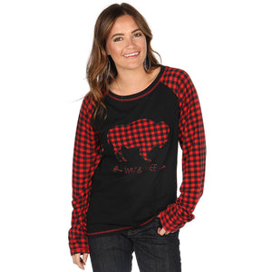 Cowgirl Tuff Buffalo Plaid Patch Shirt