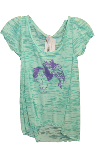 Cowgirl Tuff Girl's Light Green Purple Horse Shirt - Aces & Eights Western Wear, Inc.