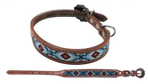 Black/Red/White/Blue Beaded Dog Collar