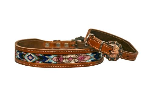turquoise/pink/purple beaded dog collar