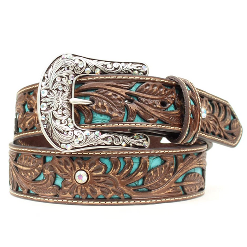 Women's Tooled Turquoise Inlay Belt