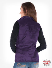 Load image into Gallery viewer, Purple shimmer vest with stretch sides and embroidery