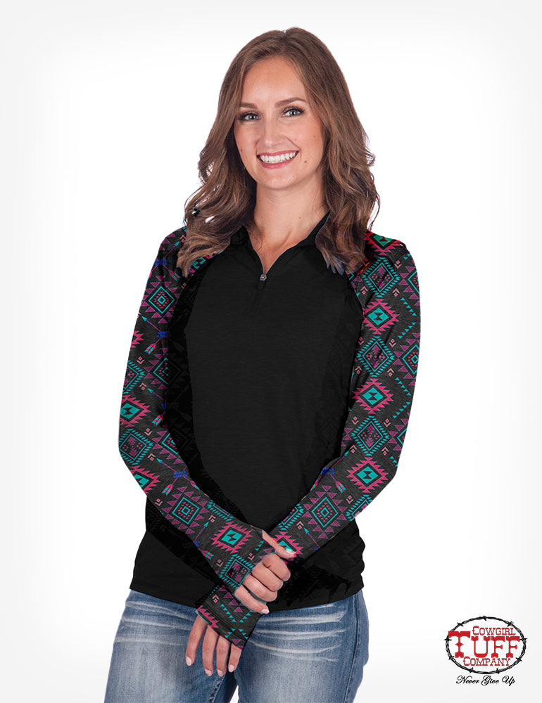 Cowgirl Tuff Aztec 1/4 Zipper Shirt