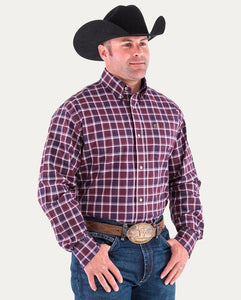 Noble Generations Fit L/S Wine Plaid Shirt Medium - Aces & Eights Western Wear, Inc.