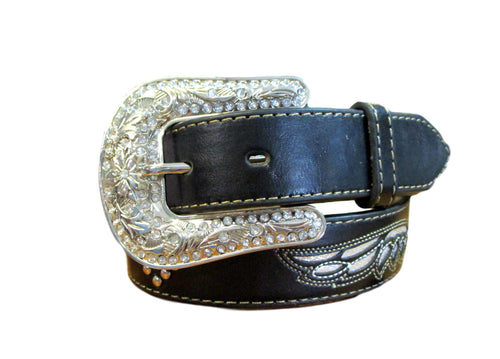 Nocona Black Belt With Cross and Wings #N4429801