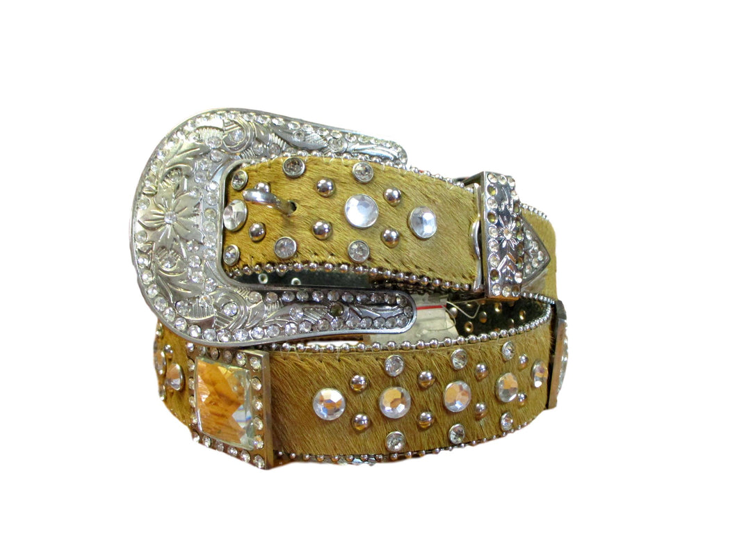 Womens Hair on Hide Bling Belt
