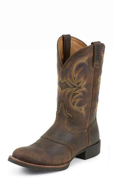 Justin Men's Dark Brown Cowhide Round Toe Western Boots 7200 - Aces & Eights Western Wear, Inc.