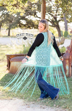 Load image into Gallery viewer, Crazy Train La Aztec Fringe Duster Teal