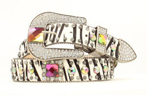 Nocona Belt Co. Women's Zebra Rhinestone Belt