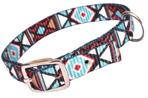 Teal and Burgundy Geometric Nylon Dog Collar
