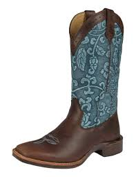 Noble Outfitters All-Around Square Toe Floral Embossed Boots Blue