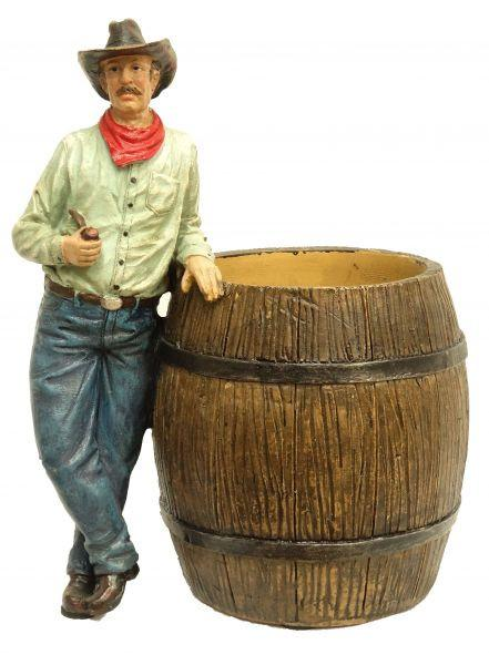 Standing Cowboy & Barrel Pencil Holder