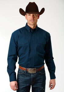 Roper Men's Solid Navy Western Shirt (Extended Sizes)