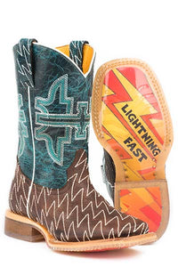 Tin Haul Boys' Thunderbolt Cowboy Boots - Square Toe