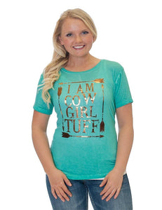 Cowgirl Tuff Turquoise Tee With Gold Foil Lettering