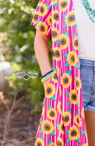 Crazy Train Sunny Side Sunflower Duster w/Pockets