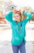 Load image into Gallery viewer, Crazy Train Knot For Long L/S Turquoise Shirt
