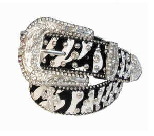 Zebra Bling Belt W/Cross Conchos