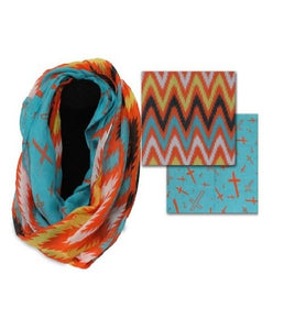 Double Sided Chevron and Cross Woven Infinity Scarf