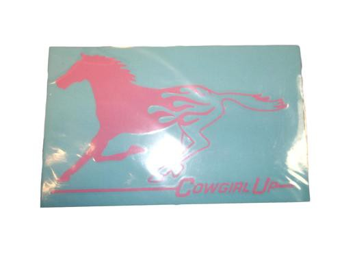 Cowgirl Up Decal With Pink Horse
