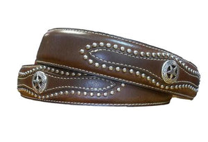 Brown Leather Belt W/Studs & Star accents