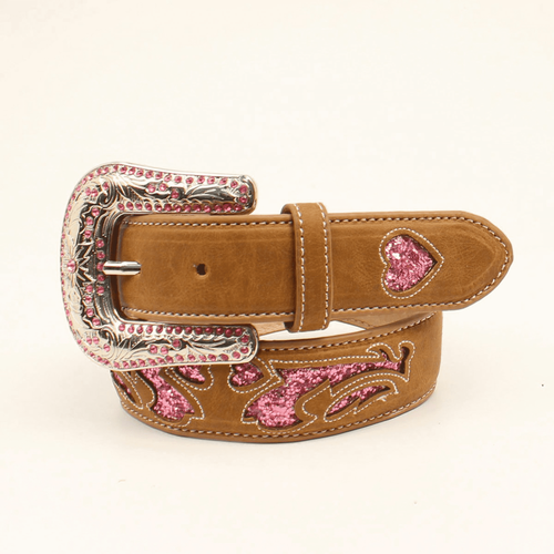 Nocona Brown Leather Hot Pink Glitter Belt Girls