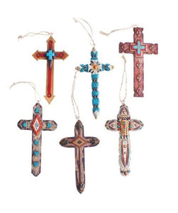 6 Piece Turquoise Stone Cross Ornament Set