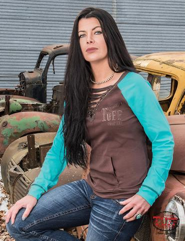 Cowgirl Tuff Chocolate & Turquoise Lace Up Shirt
