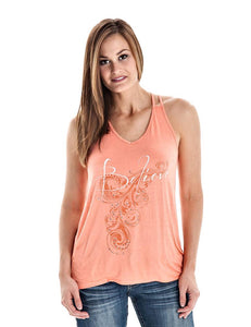 Cowgirl Tuff Coral Studded Believe Tank - Aces & Eights Western Wear, Inc.