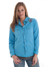 Load image into Gallery viewer, Cowgirl Tuff Western Shirt Womens L/S Denim Button Pockets Blue - Aces & Eights Western Wear, Inc.