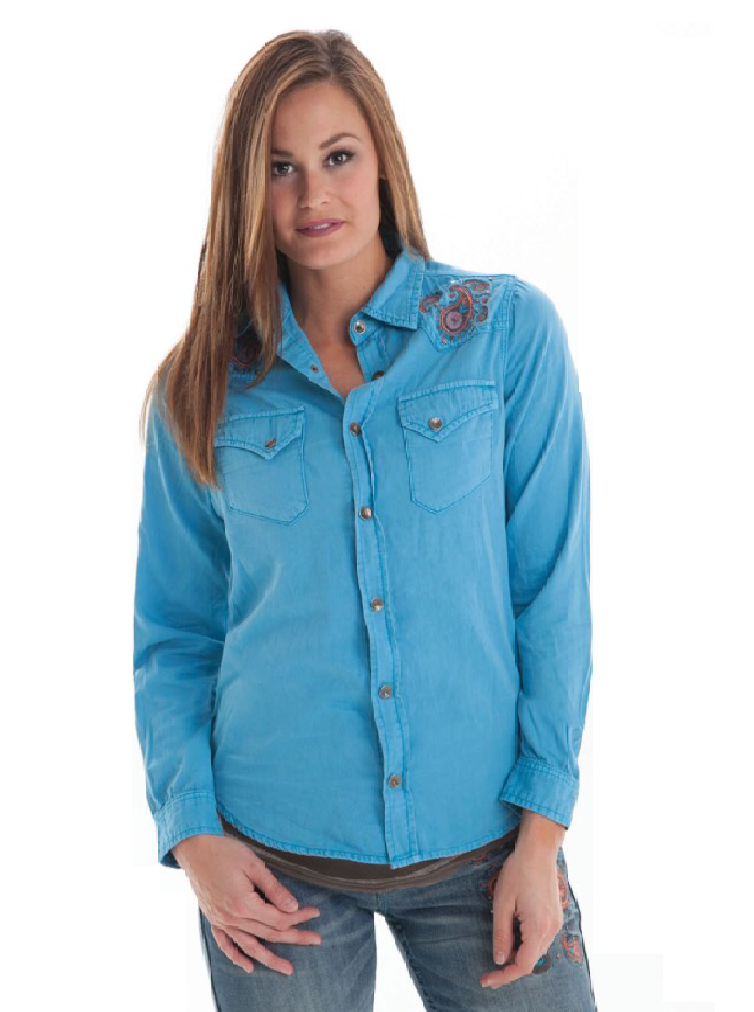 Cowgirl Tuff Western Shirt Womens L/S Denim Button Pockets Blue - Aces & Eights Western Wear, Inc.