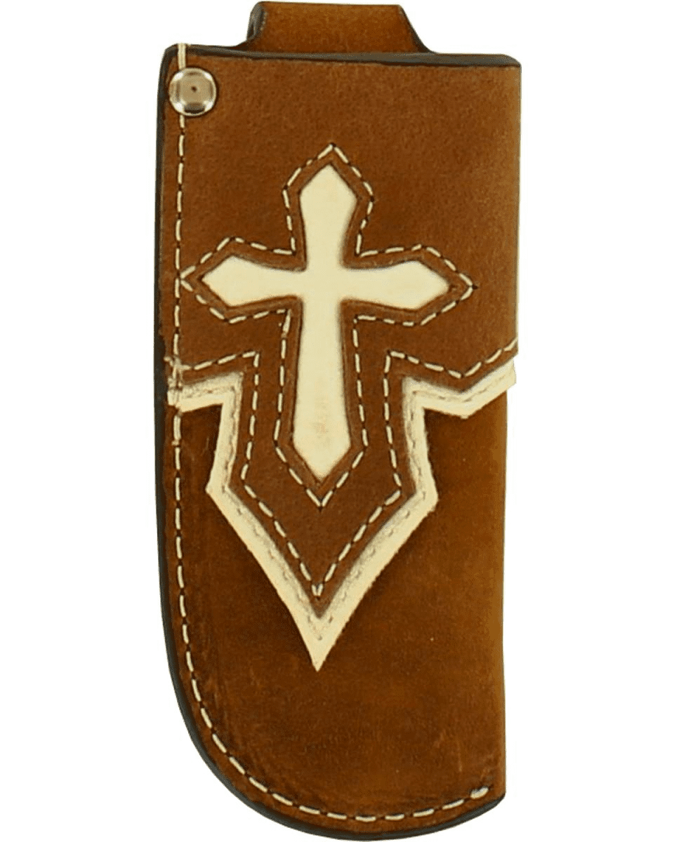 Medium Leather Knife Sheath with Cross