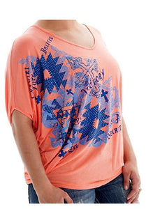 Cowgirl Tuff S/S Blouse Flowy Crystal Coral - Aces & Eights Western Wear, Inc.