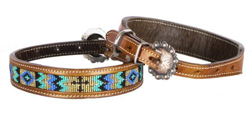 Turquoise and Gold Cross Dog Collar