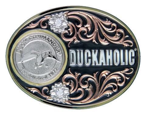 Duckaholic With Flowers Belt Buckle