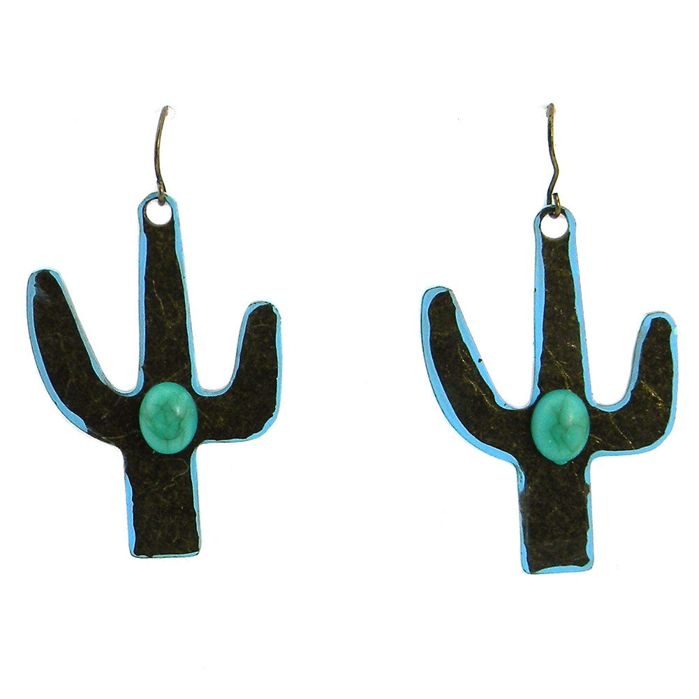 Erz160925-02 Brass Copper Base W/Turquoise Cactust Earring