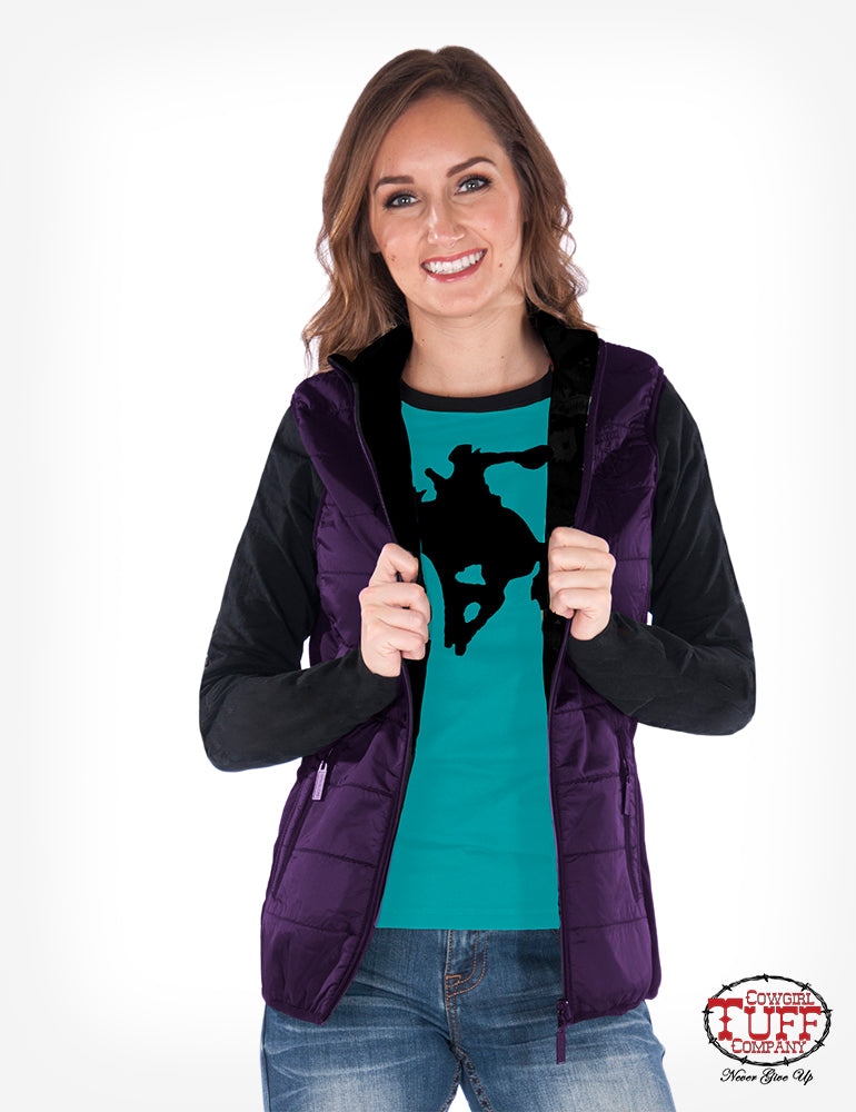Purple shimmer vest with stretch sides and embroidery