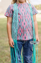 Load image into Gallery viewer, Crazy Train La Azteca Girls Teal Fringe Duster