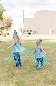Crazy Train La Azteca Girls Teal Fringe Duster