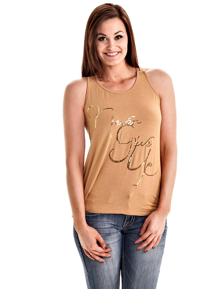 Cowgirl Tuff Never Give Up Tank - Aces & Eights Western Wear, Inc.