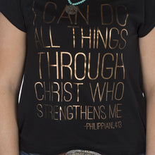 Load image into Gallery viewer, Cowgirl Tuff Philippians 4:13 Black Tee