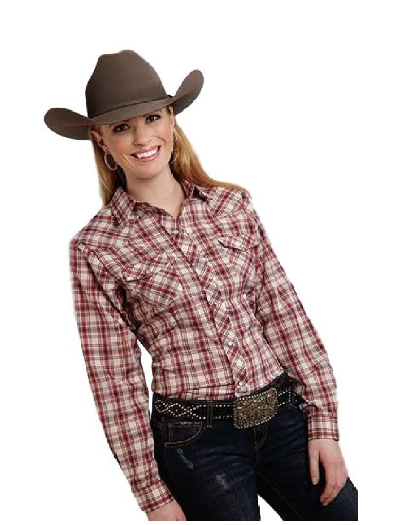 Roper Ladies Long Sleeve Red Cream Plaid Western Shirt