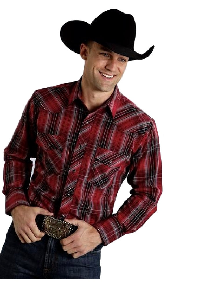 Roper® Mens Red & Black With Silver Lurex Plaid Long Sleeve Snap Western Shirt