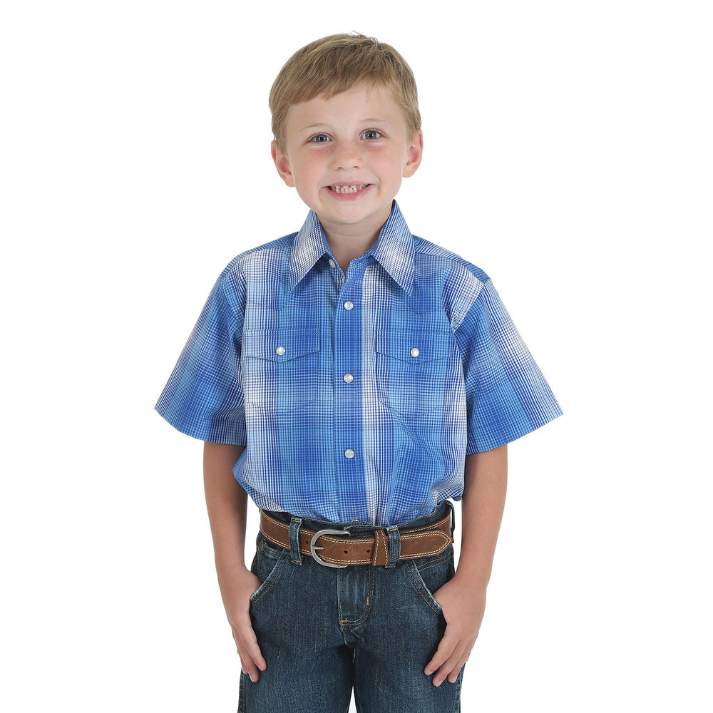 Wrangler Assorted Short Sleeve Plaid Pearl Snap Boys Western Shirt